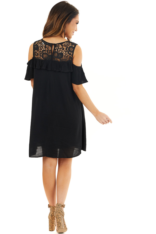 Black Cold Shoulder Dress with Crochet Lace Yoke Detail back full body