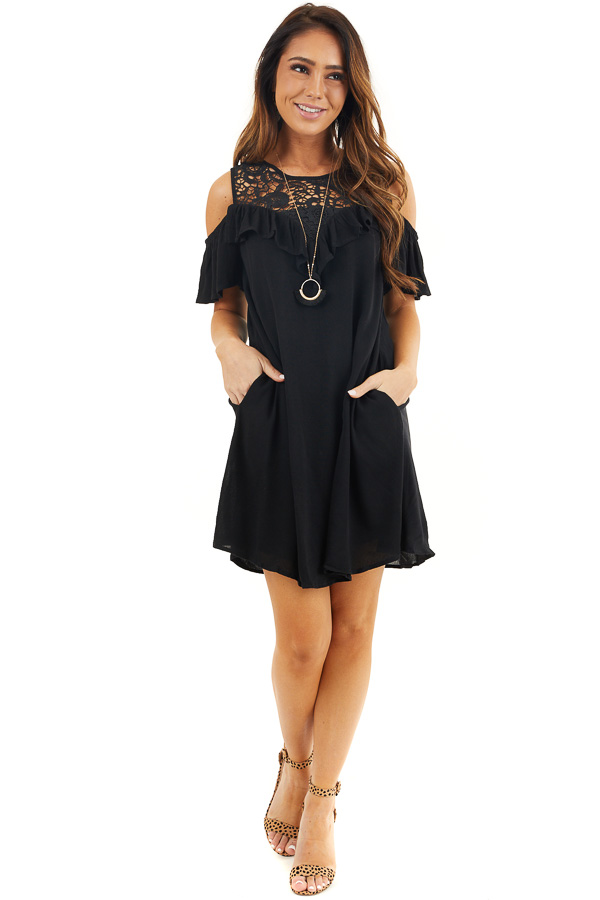 Black Cold Shoulder Dress with Crochet Lace Yoke Detail front full body