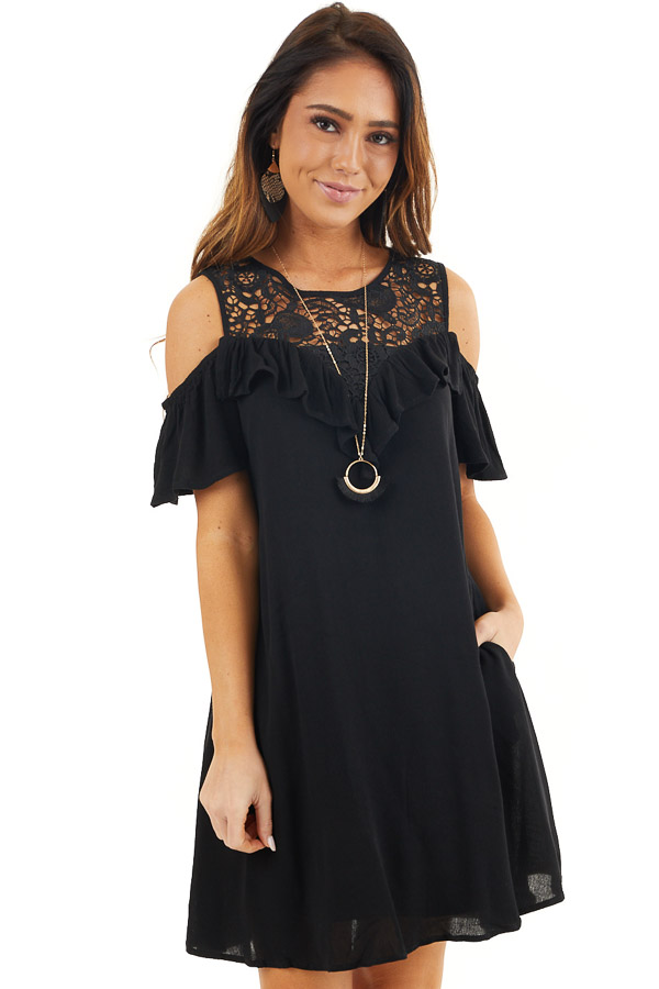 Black Cold Shoulder Dress with Crochet Lace Yoke Detail front close up