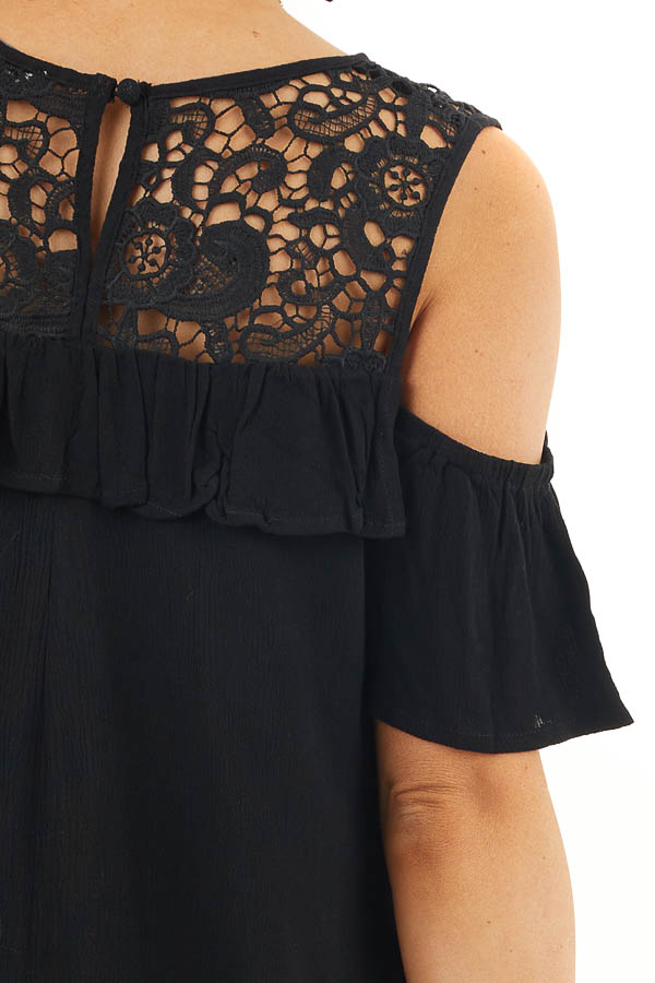 Black Cold Shoulder Dress with Crochet Lace Yoke Detail detail
