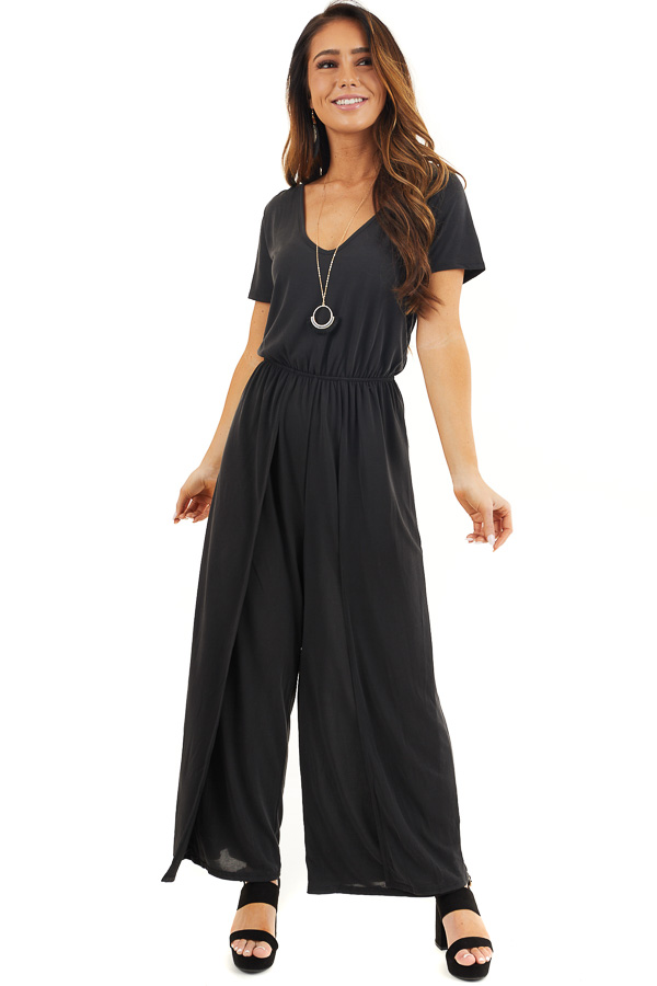 Black V Neck Jumpsuit with Short Sleeves and Side Slits front full body
