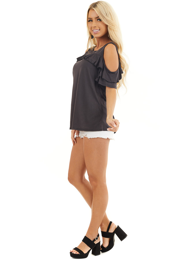 Black Short Sleeve Cold Shoulder Top with Ruffle Details side full body