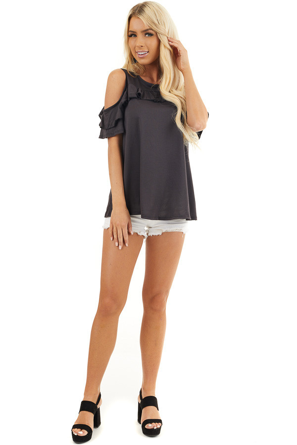 Black Short Sleeve Cold Shoulder Top with Ruffle Details front full body
