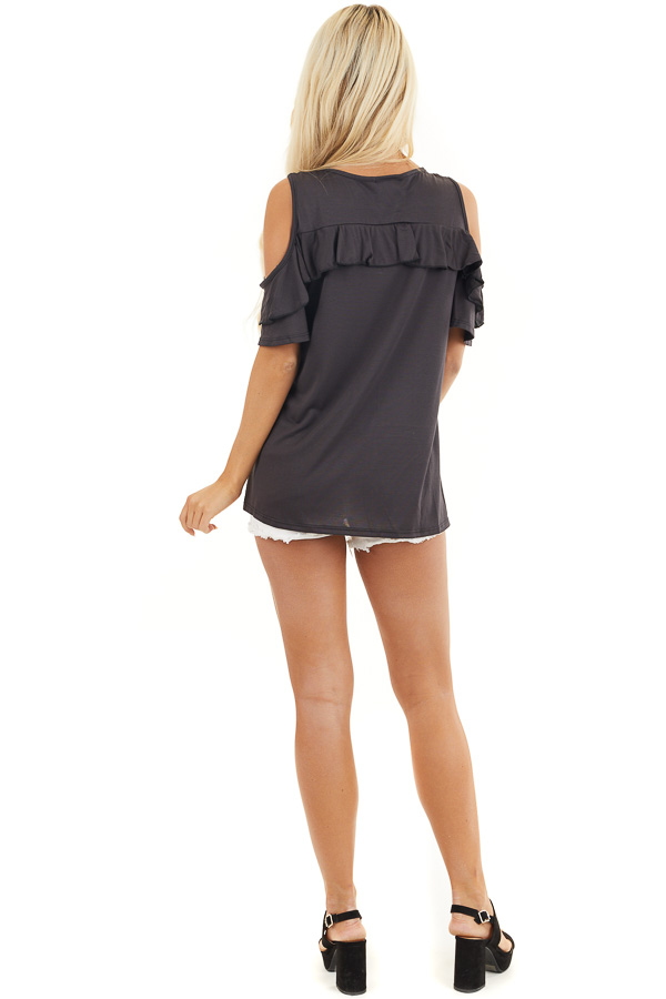 Black Short Sleeve Cold Shoulder Top with Ruffle Details back full body