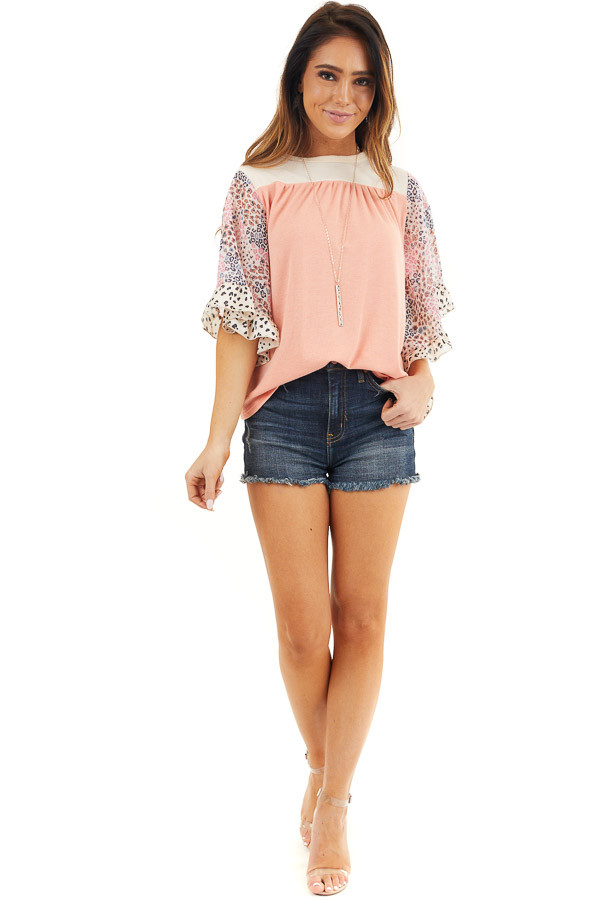 Coral and Cream Knit Top with Leopard Print Ruffle Sleeves front full body