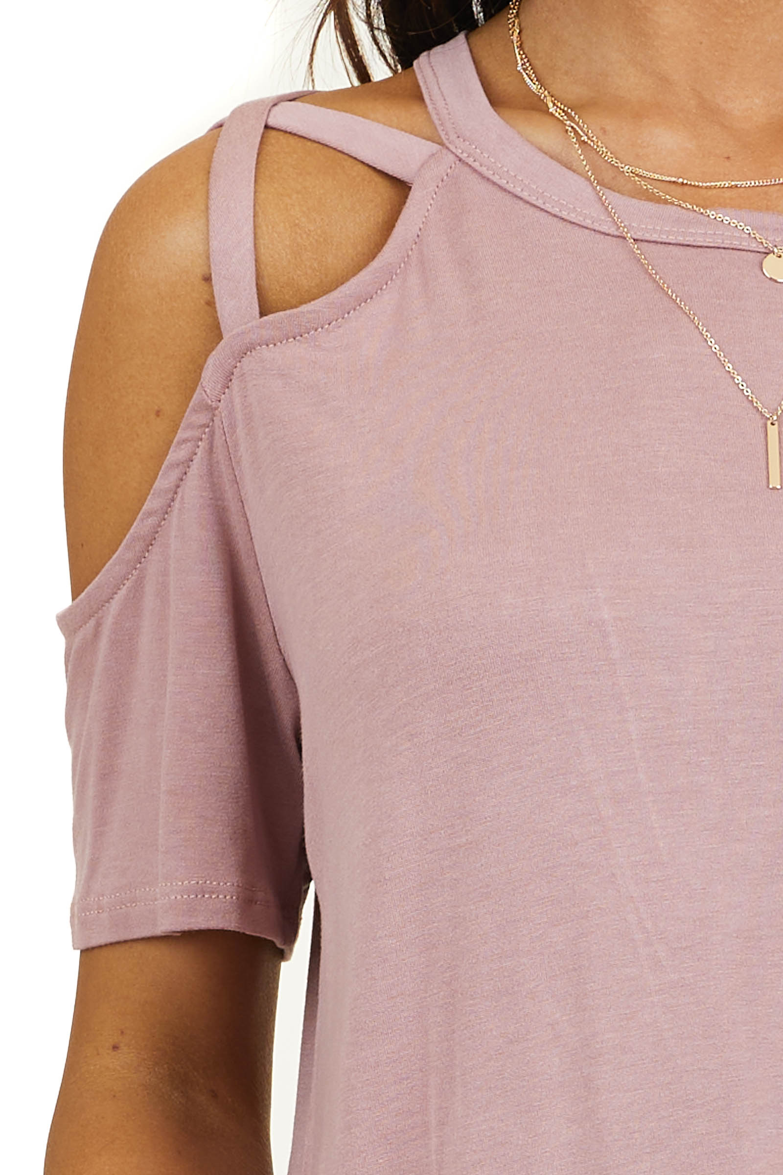 Sienna Strappy Cold Shoulder Short Sleeve Knit Top