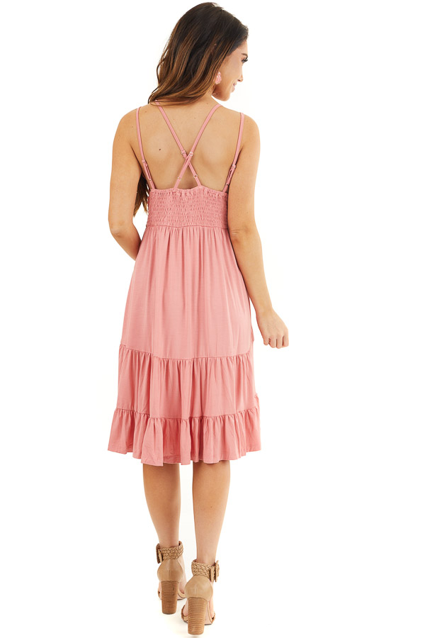 Coral Dress with Crochet Lace Bodice and Criss Cross Back back full body