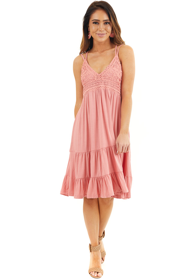 Coral Dress with Crochet Lace Bodice and Criss Cross Back front full body