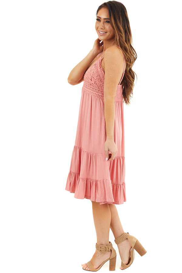 Coral Dress with Crochet Lace Bodice and Criss Cross Back side full body
