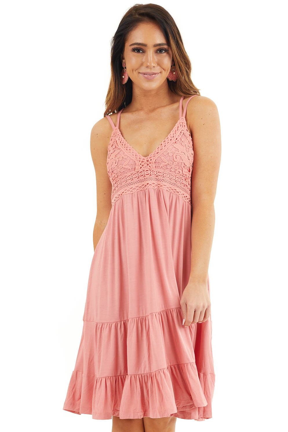 Coral Dress with Crochet Lace Bodice and Criss Cross Back