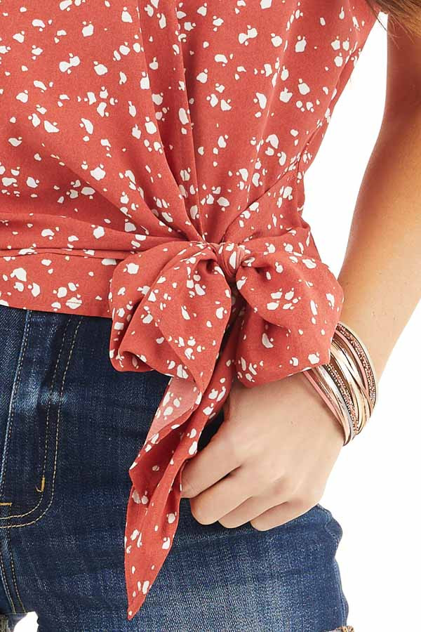 Candy Apple Red Printed Wrap Top with Hidden Clasp and Tie detail