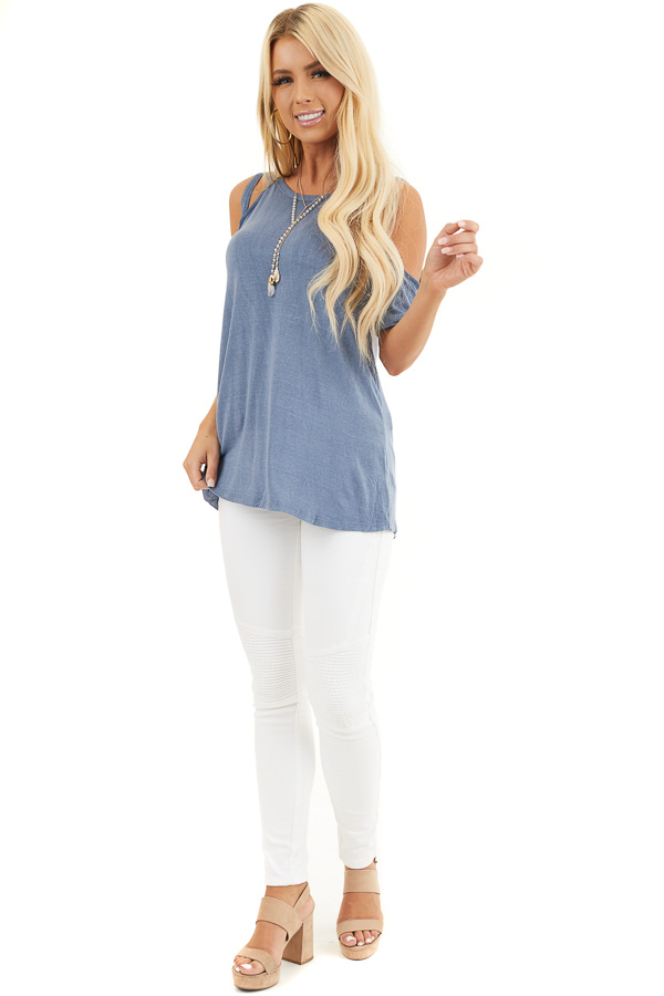 Slate Blue Strappy Cold Shoulder Short Sleeve Knit Top front full body