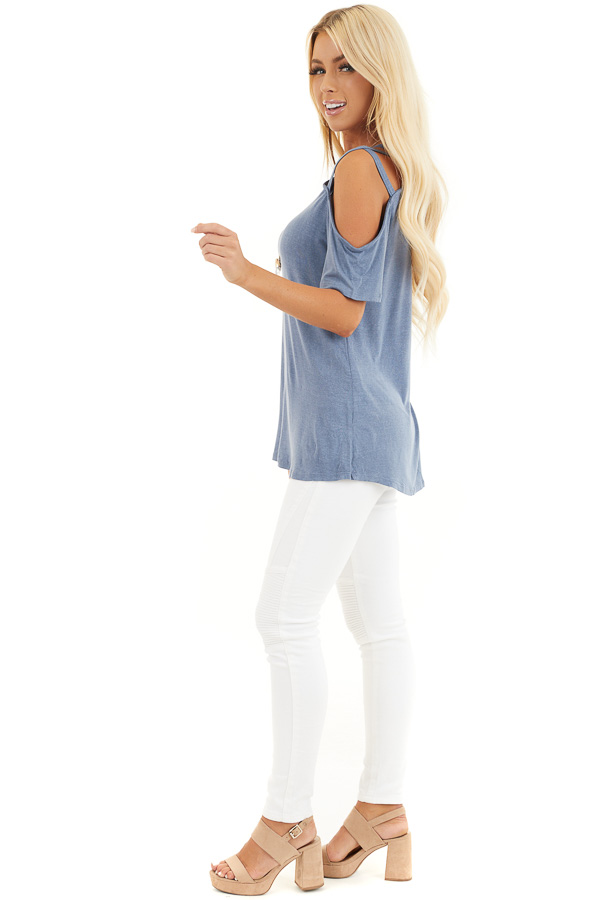 Slate Blue Strappy Cold Shoulder Short Sleeve Knit Top side full body
