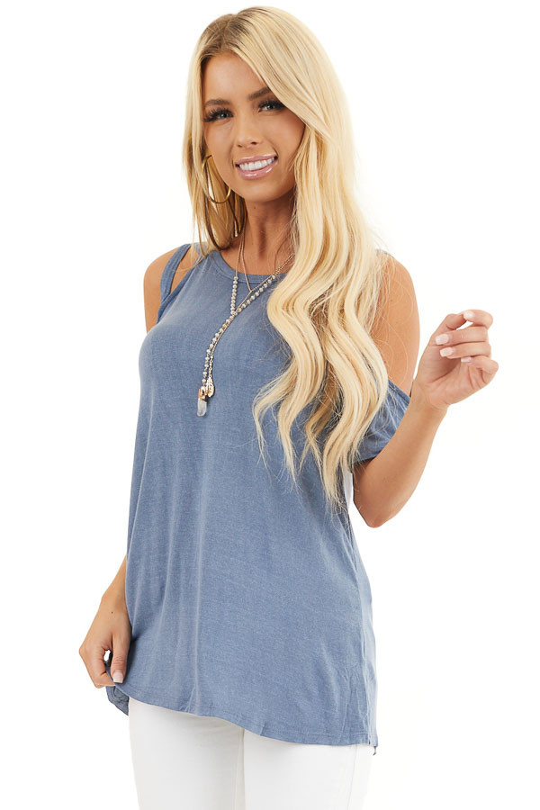 Slate Blue Strappy Cold Shoulder Short Sleeve Knit Top front close up