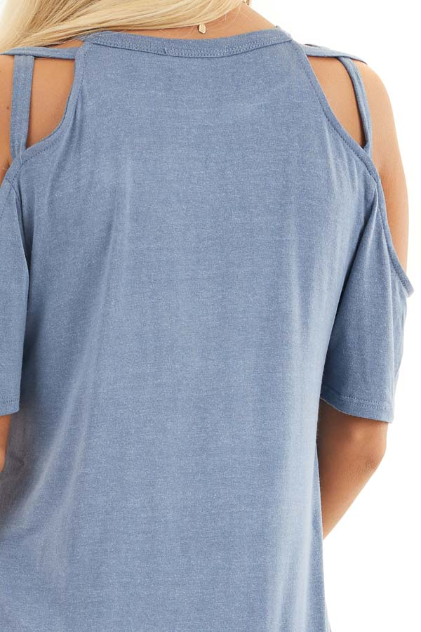 Slate Blue Strappy Cold Shoulder Short Sleeve Knit Top detail