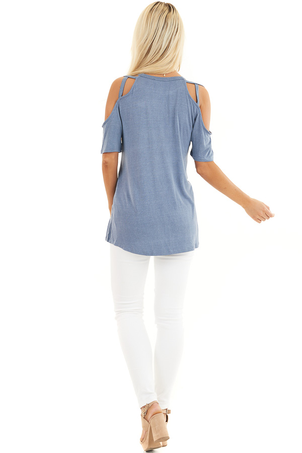Slate Blue Strappy Cold Shoulder Short Sleeve Knit Top back full body