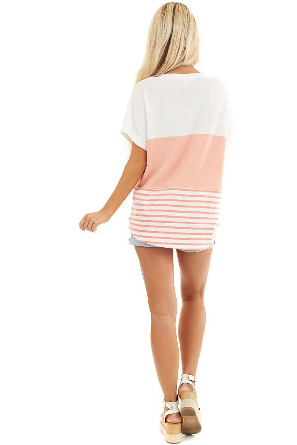 Coral and Off White Colorblock Top with Short Sleeves back full body