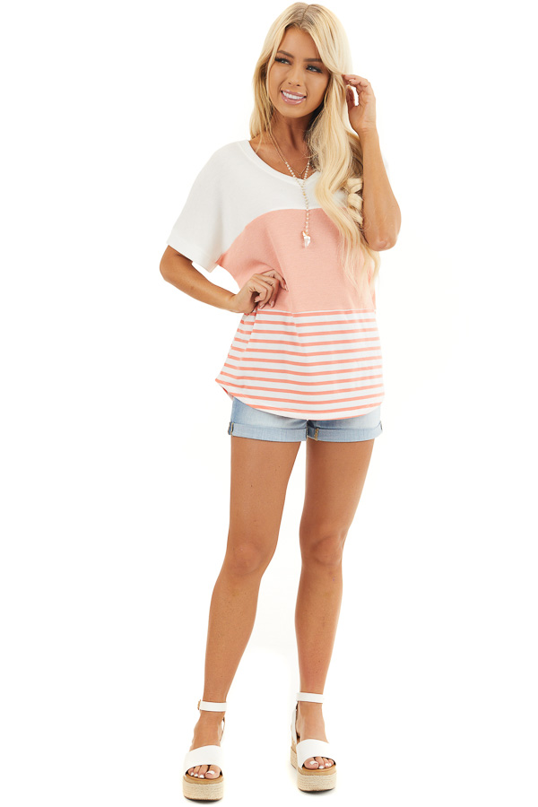 Coral and Off White Colorblock Top with Short Sleeves front full body