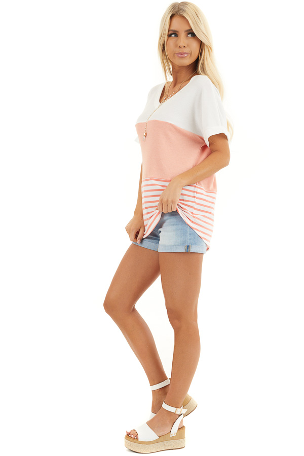 Coral and Off White Colorblock Top with Short Sleeves side full body