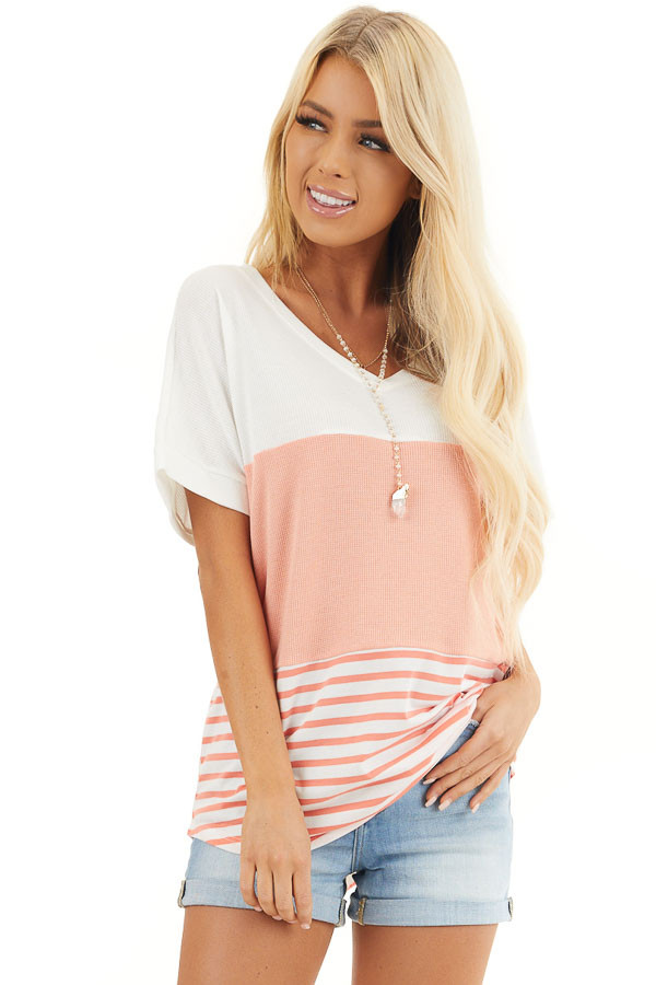 Coral and Off White Colorblock Top with Short Sleeves front close up