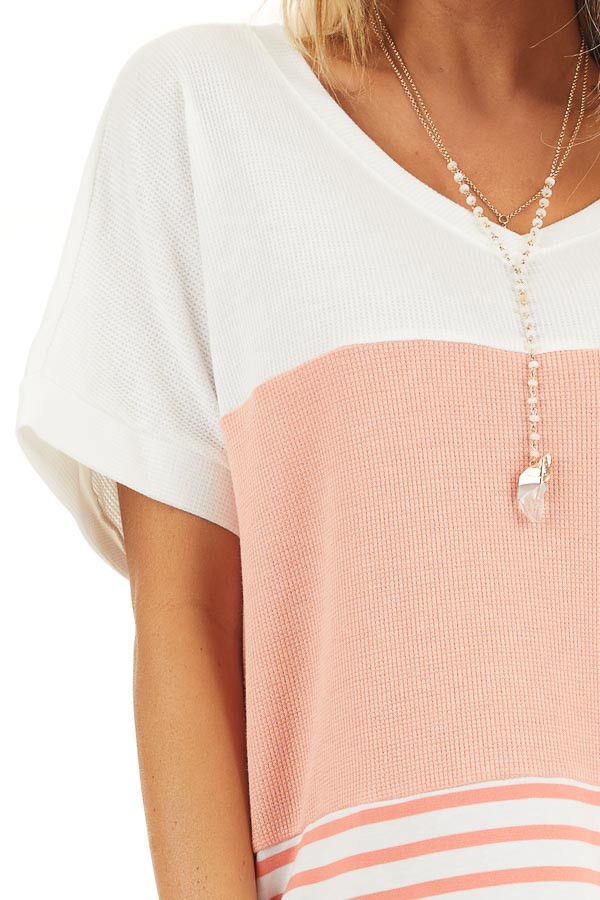Coral and Off White Colorblock Top with Short Sleeves detail