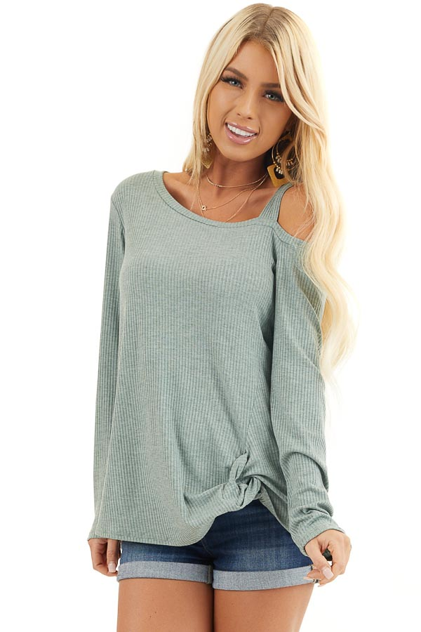Sage Ribbed Long Sleeve Knit Top with One Cold Shoulder front close up