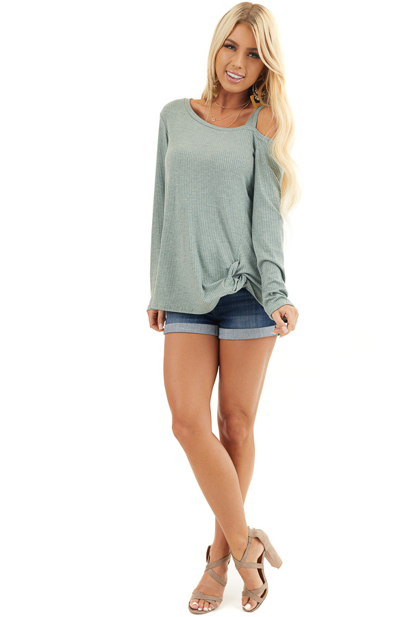 Sage Ribbed Long Sleeve Knit Top with One Cold Shoulder front full body