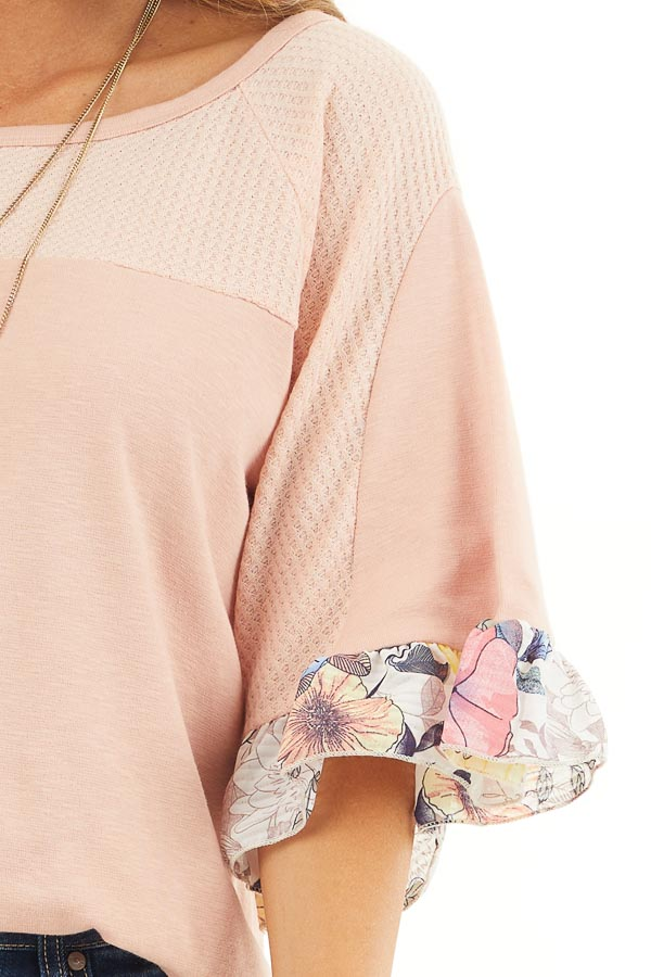 Peach Round Neck Knit Top with Floral Print Ruffle Details detail
