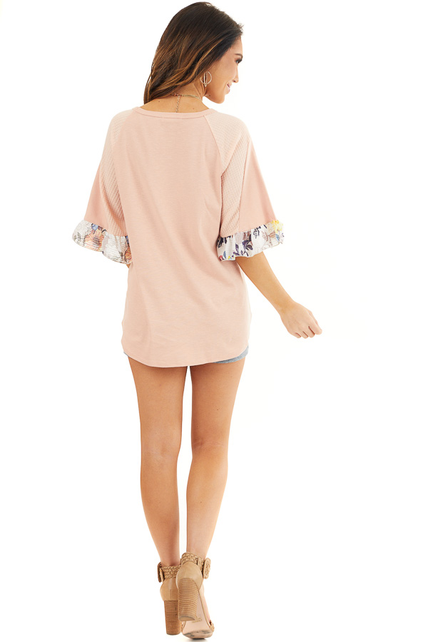 Peach Round Neck Knit Top with Floral Print Ruffle Details back full body