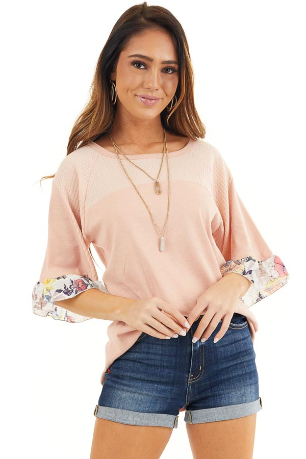 Peach Round Neck Knit Top with Floral Print Ruffle Details front full body