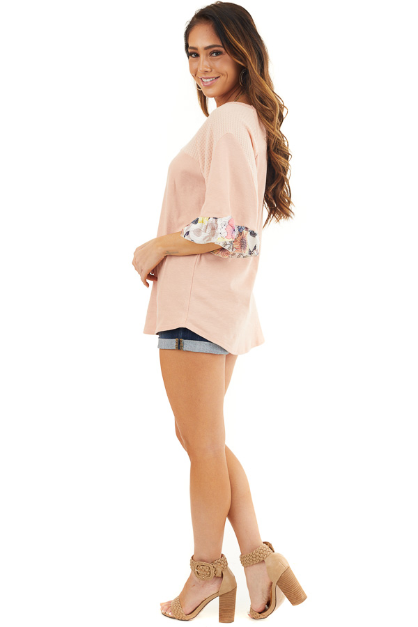 Peach Round Neck Knit Top with Floral Print Ruffle Details side full body