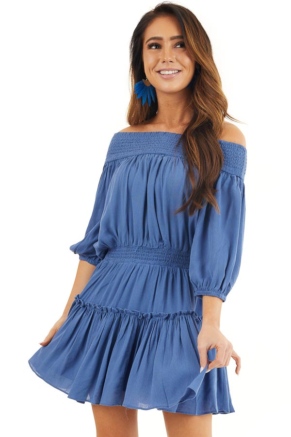 Dusty Blue Off Shoulder Mini Dress with Short Bubble Sleeves front close up