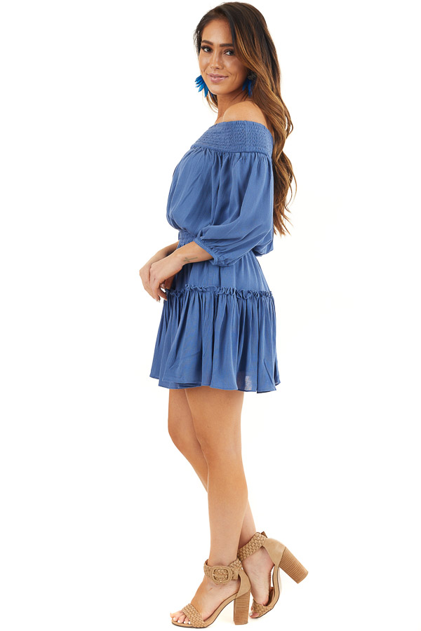 Dusty Blue Off Shoulder Mini Dress with Short Bubble Sleeves side full body