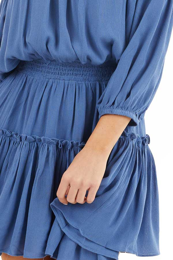 Dusty Blue Off Shoulder Mini Dress with Short Bubble Sleeves detail