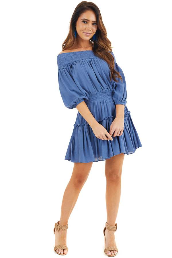 Dusty Blue Off Shoulder Mini Dress with Short Bubble Sleeves front full body