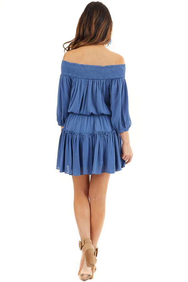 Dusty Blue Off Shoulder Mini Dress with Short Bubble Sleeves back full body