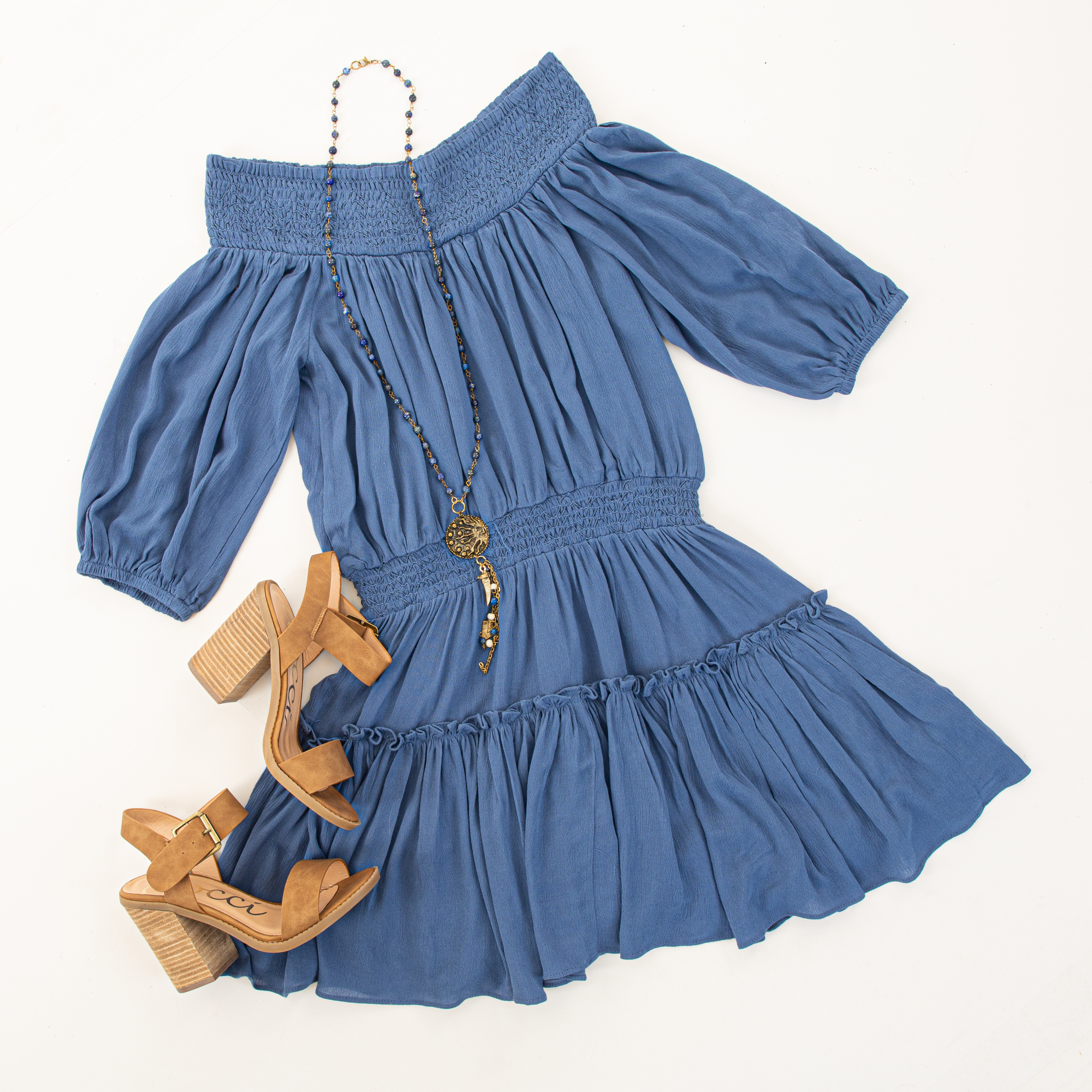 Dusty Blue Off Shoulder Mini Dress with Short Bubble Sleeves