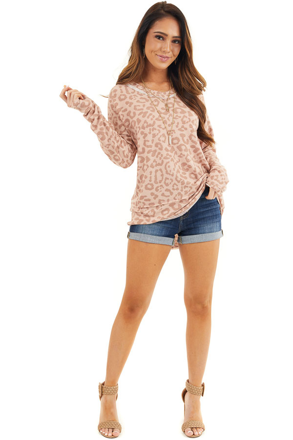 Blush Pink Leopard Print Long Sleeve V Neck Knit Top front full body