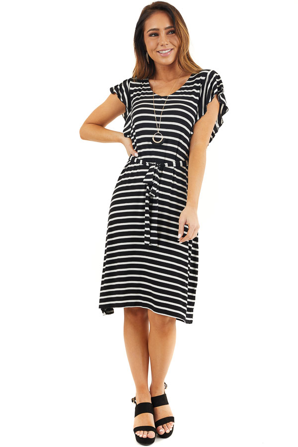 Black and White Striped V Neck Dress with Waist Tie Detail front full body