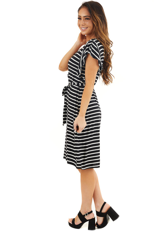 Black and White Striped V Neck Dress with Waist Tie Detail side full body