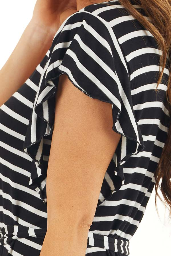 Black and White Striped V Neck Dress with Waist Tie Detail detail