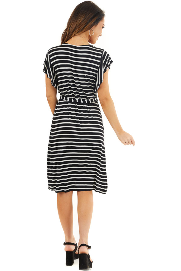 Black and White Striped V Neck Dress with Waist Tie Detail back full body