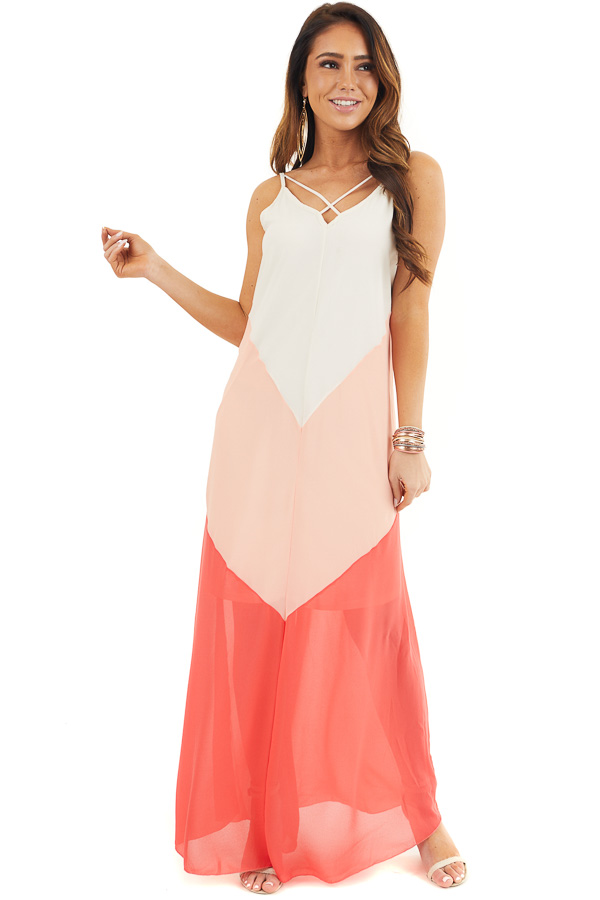 Coral and Cream Chevron Maxi Dress with X Neckline front full body