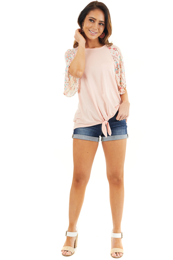 Peach Knit Top with Multicolor Sleeves and Front Tie front full body