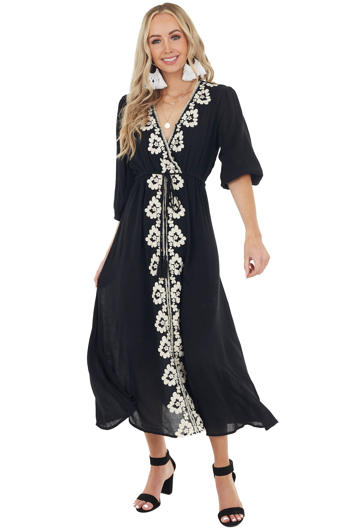 Black Maxi Dress with Embroidered Details and 3/4 Sleeves
