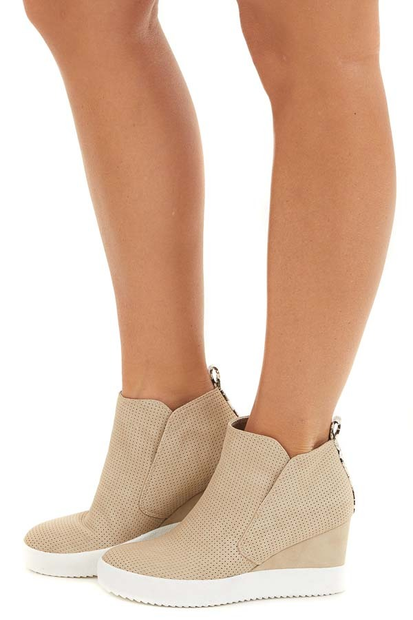 Light Taupe Perforated Sneaker Wedges with Snakeskin Detail