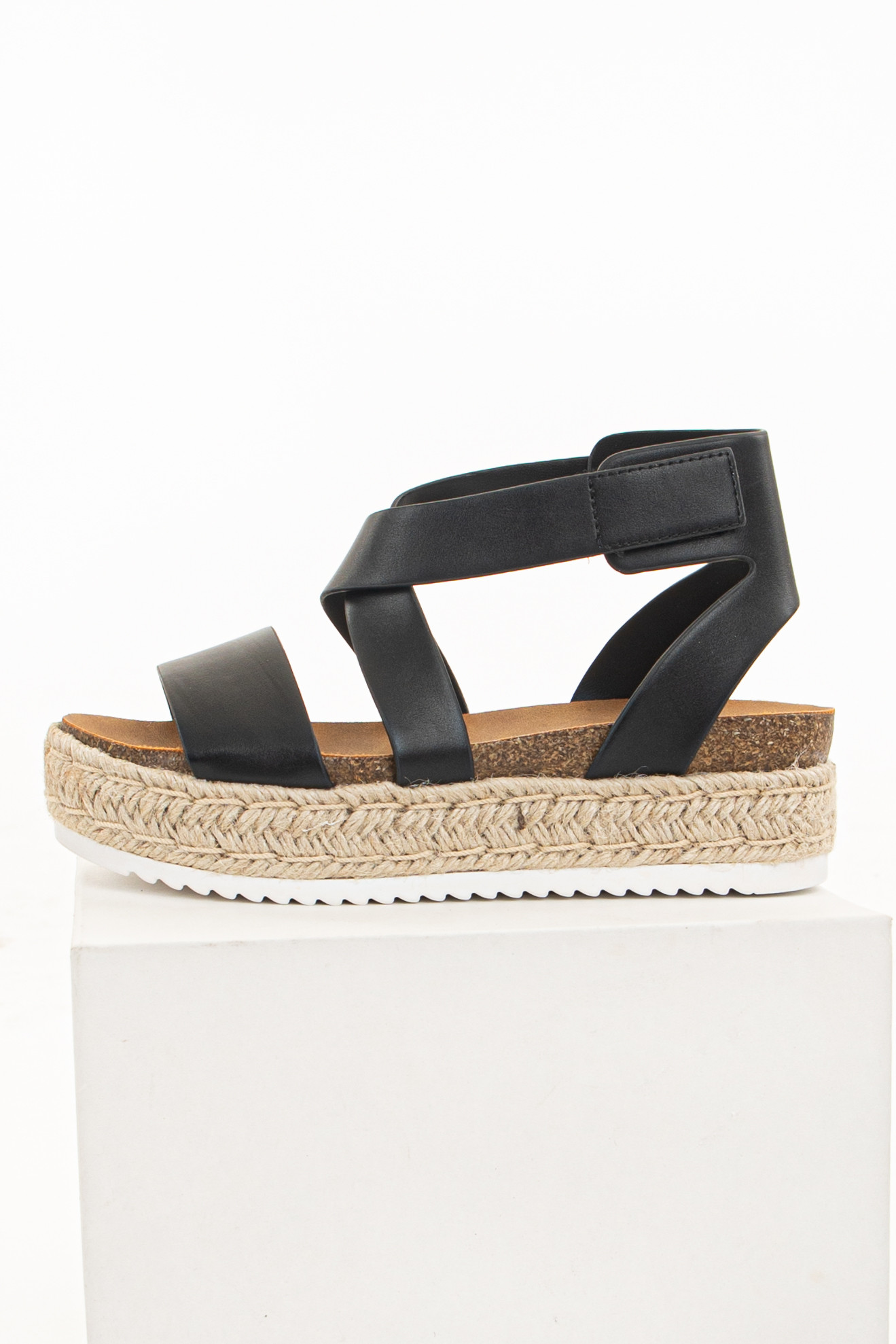 Black Faux Leather Strappy Velcro Espadrille Sandals