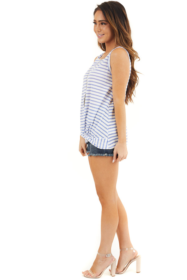 Blue and White Striped Sleeveless Tank Top with Twist Front side full body