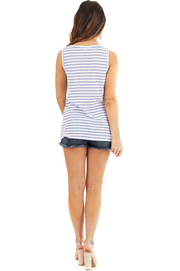 Blue and White Striped Sleeveless Tank Top with Twist Front back full body