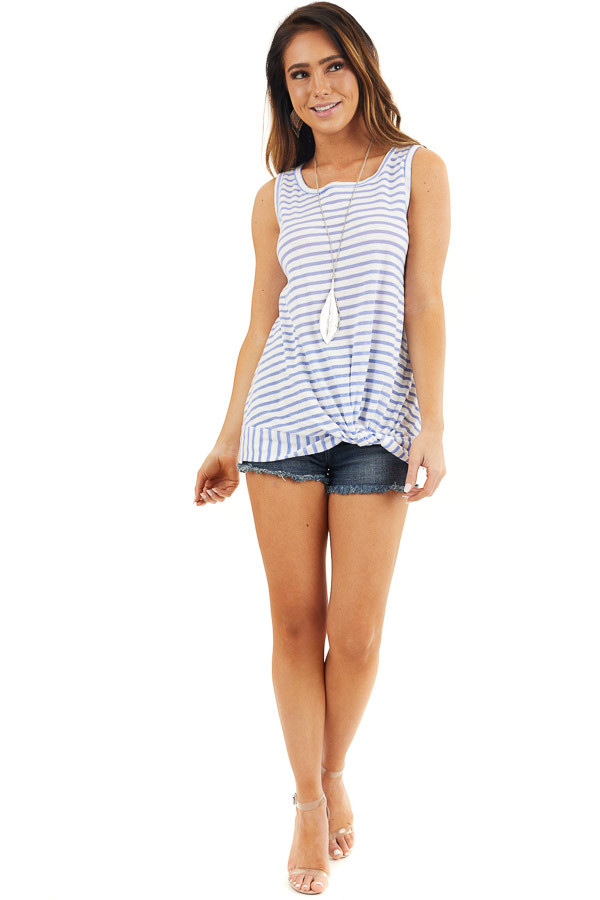 Blue and White Striped Sleeveless Tank Top with Twist Front front full body